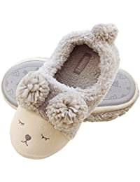 Women Wool Plush Sheep Slippers | Fleece Lined Slip On Memory Foam Clog | Indoor/Outdoor House Animal Slippers
