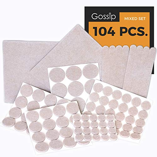 PREMIUM Furniture Pads Set 104 Pcs Value Pack - Heavy Duty Adhesive Felt Pads for Furniture Feet, Assorted Sizes - Best Wood Floor Protectors for Hardwood, Ceramic & Laminate Flooring