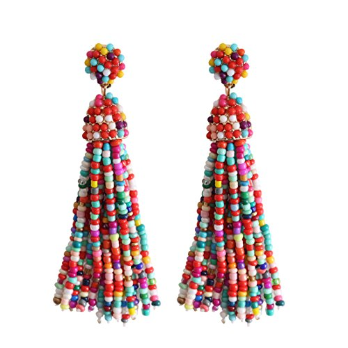 NLCAC Women's Beaded tassel earrings Long Fringe Drop Earrings Dangle Confetti ()