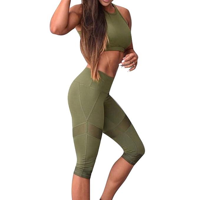 Juleya Mujer Fitness Chandal Ropa de deporte Dos piezas Yoga Set Sujetador  deportivo + Musculación Leggings Verano Pantalones Al aire libre Conjunto  de ropa ... 27c46617fe8d