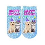 Sublime Designs SD06-BDA-HBA Happy Birthday Animals No-Show Socks