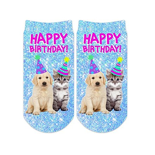 Price comparison product image Sublime Designs SD06-BDA-HBA Happy Birthday Animals No-Show Socks