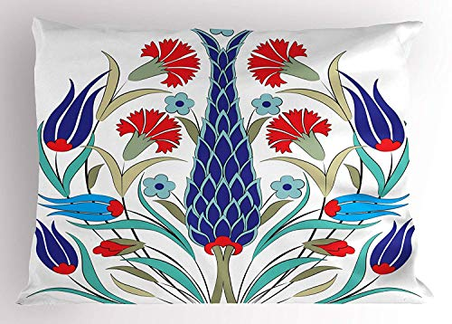 (K0k2t0 Tulip Pillow Sham, Old Ottoman Tulips Illustration with Mosaic Art Elements and Detailed Floral Picture, Decorative Standard Queen Size Printed Pillowcase, 30 X 20 inches, Blue Red)