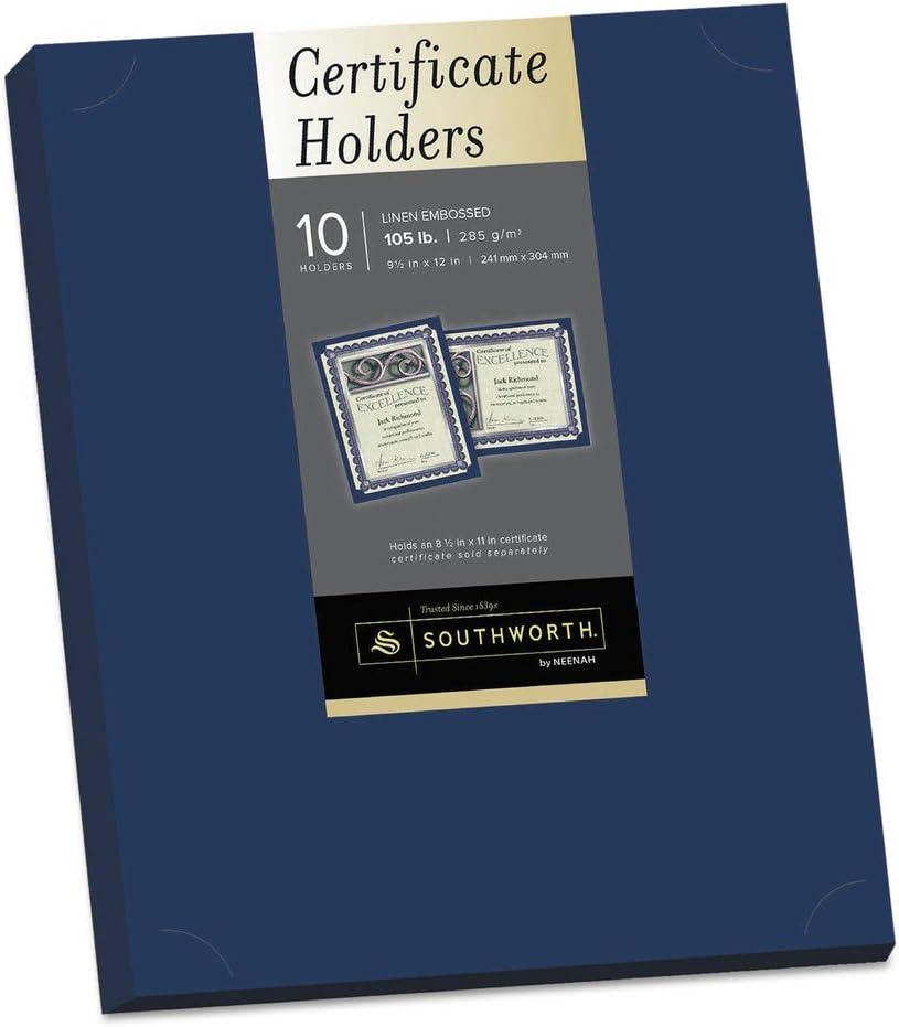 Navy 10//Pack Certificate Holder 12 x 9 1//2 105lb Linen Stock