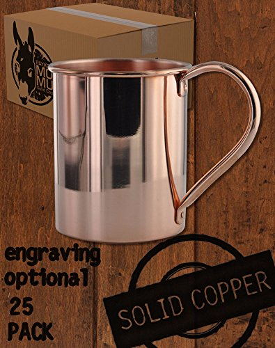 25 Pack - 13.5oz Solid Copper Moscow Mule Mugs by Paykoc Imports