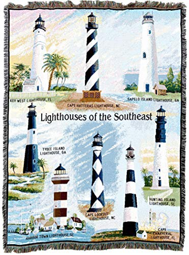 Pure Country Weavers - Lighthouses of The Southeast Key West Cape Hatteras Sapelo Tybee Harbor Town Cape Lookout Canaveral Hunting Island Woven Tapestry Throw Blanket with Fringe Cotton USA -