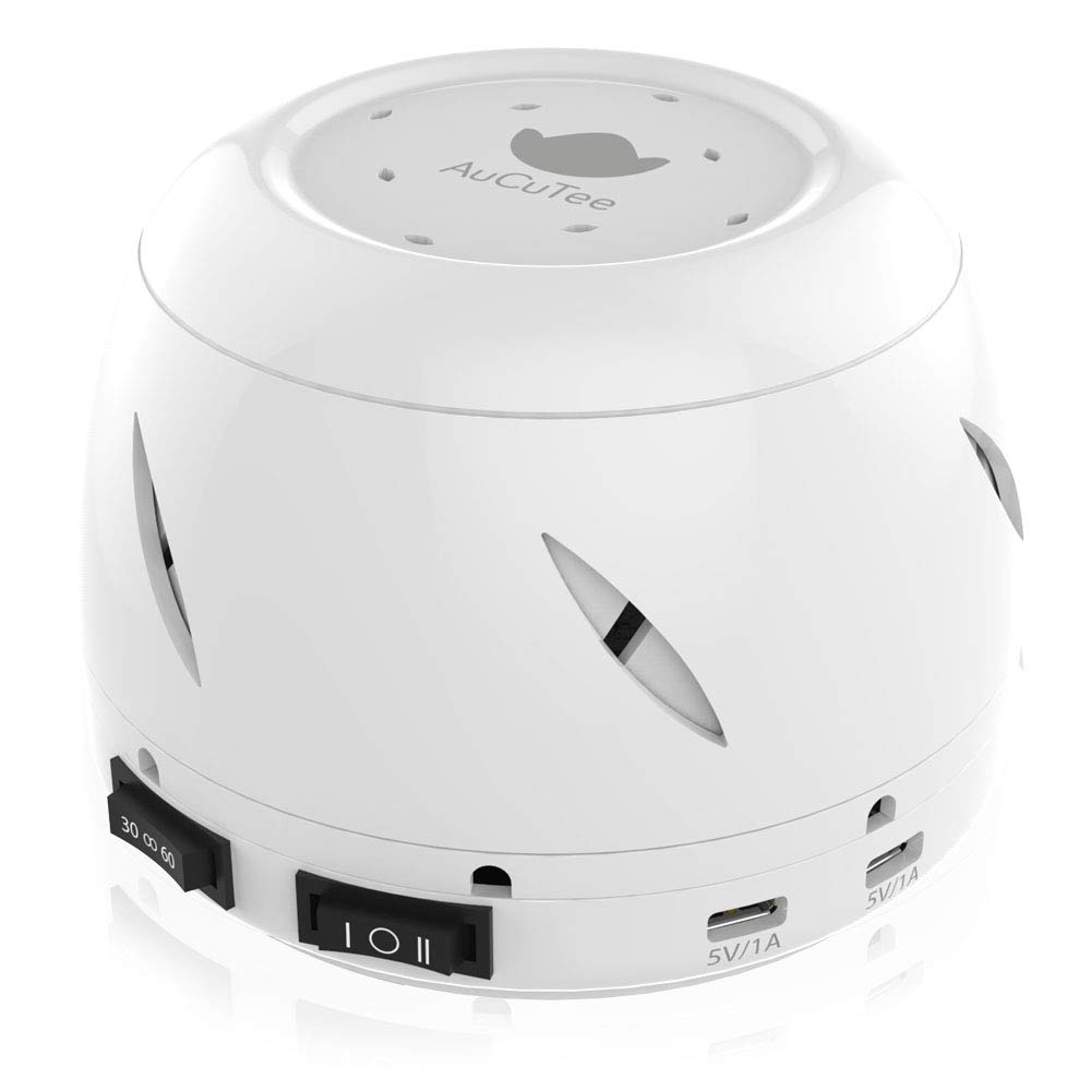 White Noise Machine, AuCuTee Real Fan Based Relaxing Soothing Nature Sounds Sleep Therapy for Home, Office, Baby, Privacy, Auto-Off Timer Sound Spa