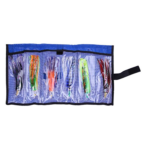 Game Big Lure ((SET of 6) 6'' Jagged Jet Head Big Game Lures Offshore Pusher Marlin Tuna Dolphin Mahi Durado Wahoo Catcher Trolling Skirt with Hooks and Swivel Rigged - w/ Free Mesh Roll-up BAG)