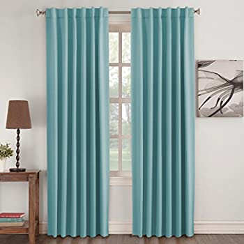 Turquoize Insulated Thermal Back Tab Rod Pocket Blackout Curtains Aqua Solid