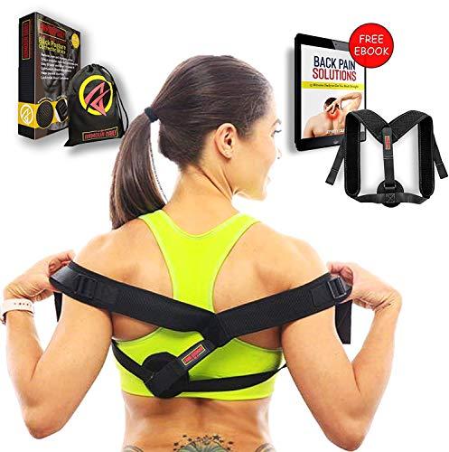 Upper Back Brace Posture Corrector for Women & Men With Easy Adjustable Strap, Upper Back Support To Improve Posture, Comfortable Posture Trainer For Back Pain Relief - Includes Bonus eBook & FREE Bag