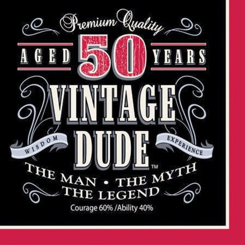 Creative Converting 16 Count Vintage Dude 50th Birthday Lunch Napkins ()