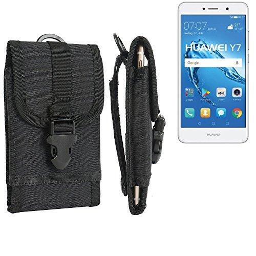 bolsa del cinturón / funda para Huawei Y7, negro | caja del teléfono cubierta protectora bolso - K-S-Trade (TM)