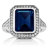 5.00 Ct Vintage Women's 925 Sterling Silver Emerald Cut Simulated Sapphire Ring (Ring Size 8)