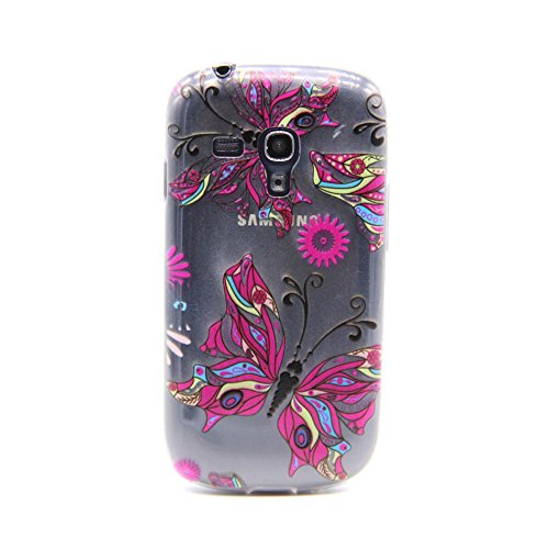 Galaxy S3 Mini Case, Easytop Ultra Slim Fashion Style TPU Soft Rubber Protective 3D Feeling Clear back Cover Case for Samsung Galaxy S3 mini, Carrier Compatibility Verizon, AT&T, T-Mobile, Sprint, International and Unlock Carriers. (Colorful Butterfly) (Samsung Galaxy S3 Mini Clear Case compare prices)