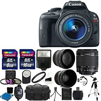 Canon EOS Rebel SL1 18.0 MP CMOS Digital SLR Full HD 1080 Video Body with EF-S 18-55mm Complete Deluxe Accessory Bundle (Canon Eos Rebel T3 Body Only Best Price)