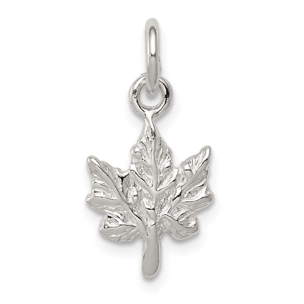 11mm x 17mm Jewel Tie 925 Sterling Silver Maple Leaf Pendant Charm