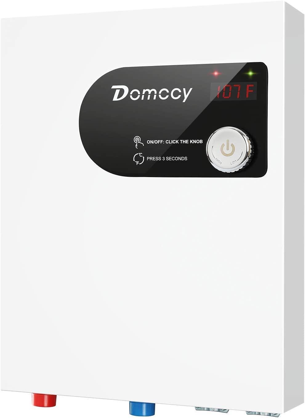 Tankless Water Heater Electric Instant On Demand 24KW 240V, Hot Water Heater Digital Display Premium Metal, Domccy Electric Hot Water Heater with Self-Modulating Overheating Protection, White