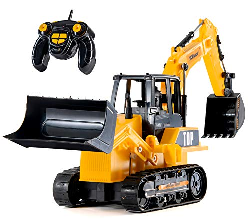 - Top Race 8 Channel Full Functional RC Excavator Backhoe Loader, Battery Powered Electric RC Remote Control Construction Tractor with Lights & Sound (TR-119)
