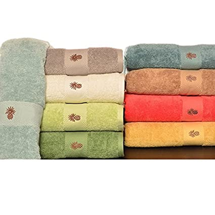 Amazon Com Sea Glass Towel Set Tommy Bahama Embroidered Pineapple