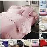 Luxury Parcale Plain Dyed Duvet Cover & Pillow Case Bed Set (Double Duvet Cover + 2 Pillows, Baby Pink)