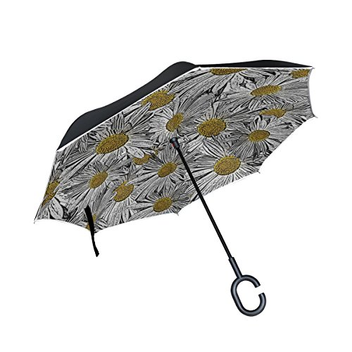 Daisy Invitation (QYUESHANG Double Layer Inverted White Yellow Daisy Flower Invitation Umbrellas Reverse Folding Umbrella Windproof Uv Protection Big Straight Umbrella For Car Rain Outdoor With C-shaped Handle)