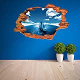 Large Blue Sky 3D Self-adhesive Removable Break Through the Wall Vinyl Wall Sticker/Mural Art Decals Decorator (Blue Boat VC1003 ( 50 x 70cm))