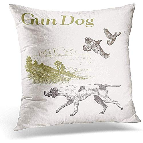 Johnnie Decorative Pillow Cover Quail Dog Hunting Gun for sale  Delivered anywhere in USA