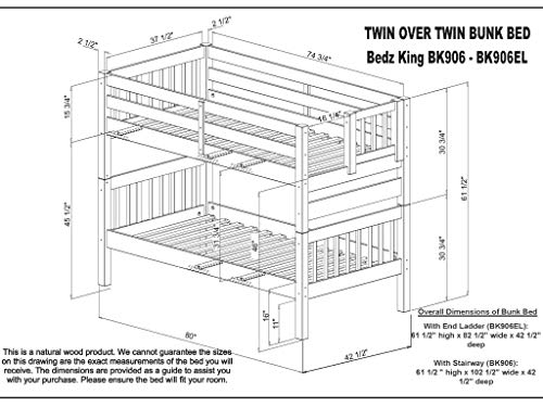 home, kitchen, furniture, bedroom furniture, beds, frames, bases,  beds 9 picture Bedz King Stairway Bunk Beds Twin over Twin promotion