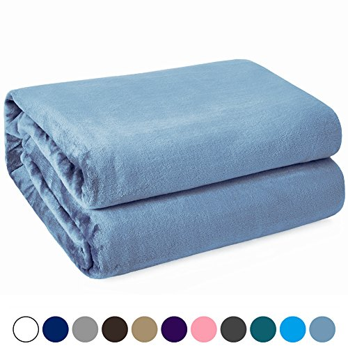 Hot Kawahome Twin Flannel - Washed Blue Fleece Luxury Blanket, Super Soft Plush Microfiber Solid Fabric, Cozy Fuzzy Blanket for Bed, Lightweight Couch/Sofa Blanket, Easy Care, (66 x 90 Inch)