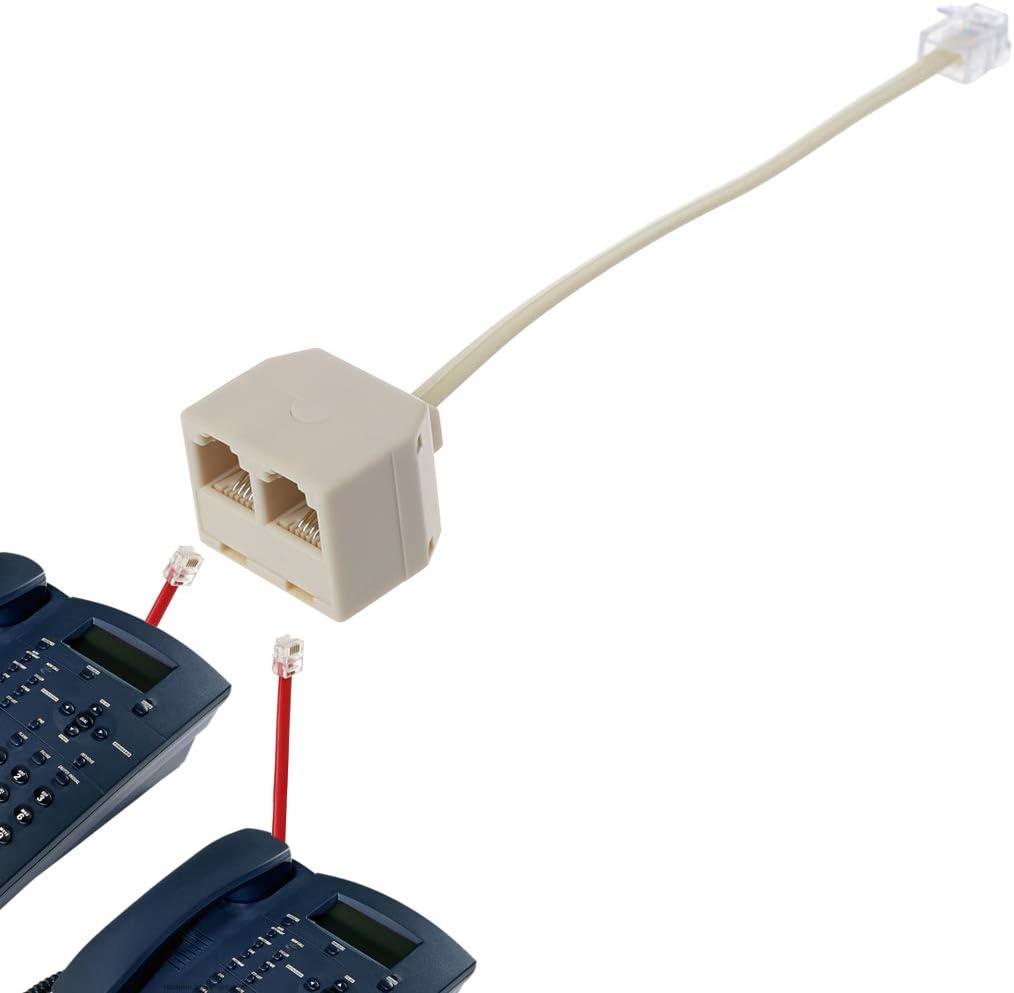 ZOUCY Tel/éfono Splitter RJ11 6P4C 1 Macho a 2 Hembra Adaptador RJ11 a RJ11 Separador