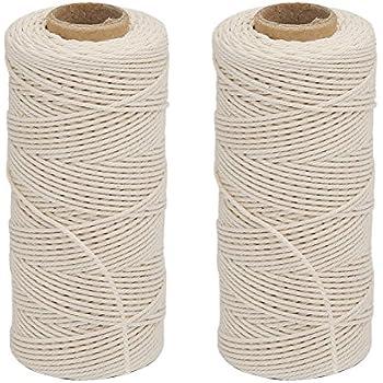 Vivifying Cotton String, 2pcs x 328 Feet Food Safe Cooking Twine for Tying Meat, Making Sausage (White)