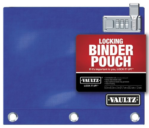 Vaultz Locking Binder Pouch, 8 x 10 Inches, Blue (VZ00519)