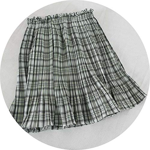 (Vintage Plaid Short Summer Skirt Women Hot High Waist Pleated Skirt A Line Skirt,Green,One Size)