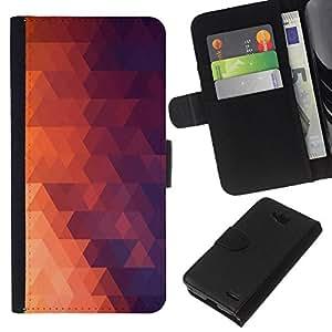 LECELL--Cuero de la tarjeta la carpeta del tirón Smartphone Slots Protección Holder For LG OPTIMUS L90 -- Geometría Red Triangle --