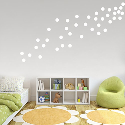 White Wall Decals Polka Dots Vinyl Stickers Safe on Painted Walls Round Art Removable Hanging Decor Decorations for kids Nursery Rooms ( 200 (Vinyl Polka Dots)