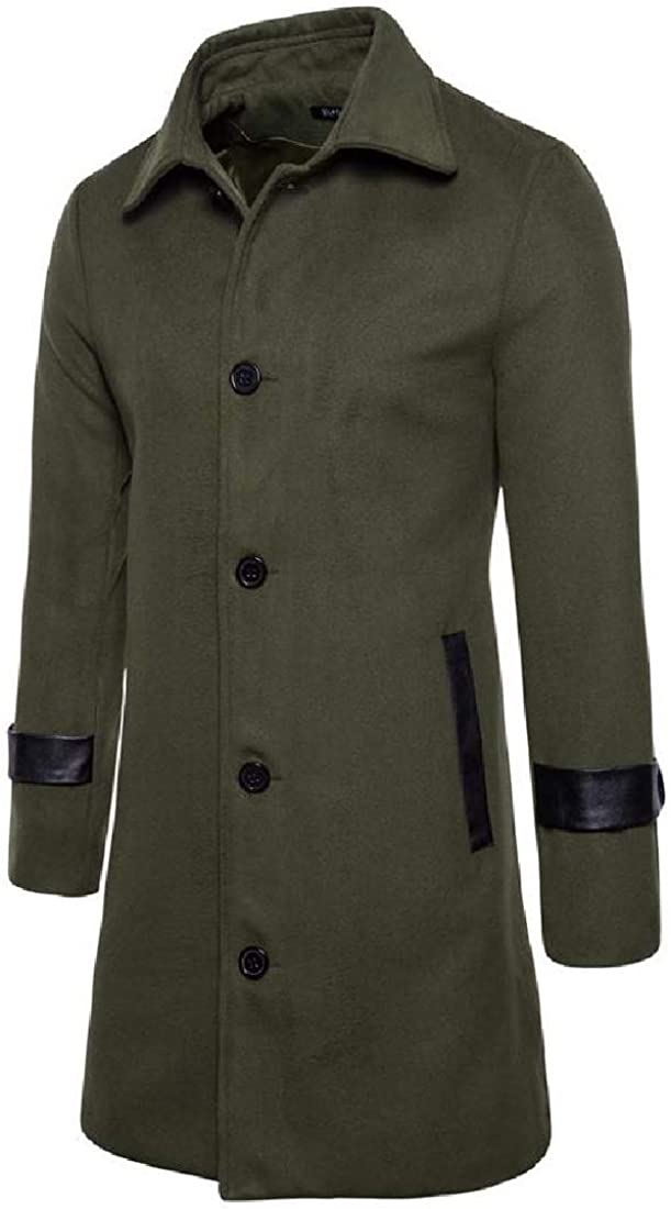 Mens Mid-Long Coat Casual Wrap Single Breasted Elegant Woolen Coat