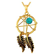 """Dream Catcher Necklace Lucky Jewelry For Women 18K Gold Plated Native American Style Indian Magic Webs Dreamcatcher Pendant - 18K Stamp Chain 22"""""""