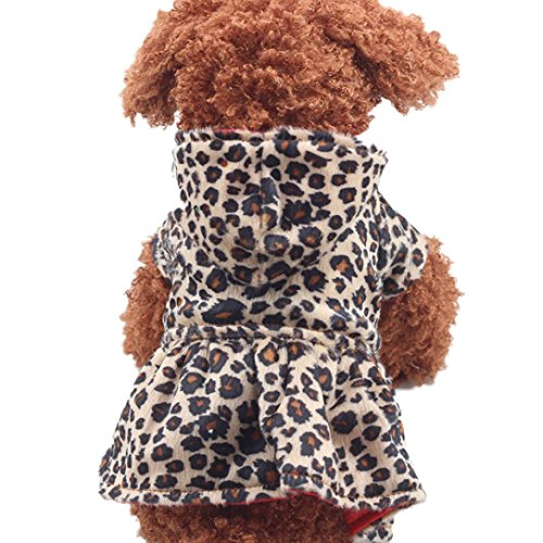 Puppy Clothing, Howstar Pet Dog Leopard Hoodie Coat Lovely Warm Apparl Outfit (Brown, M)