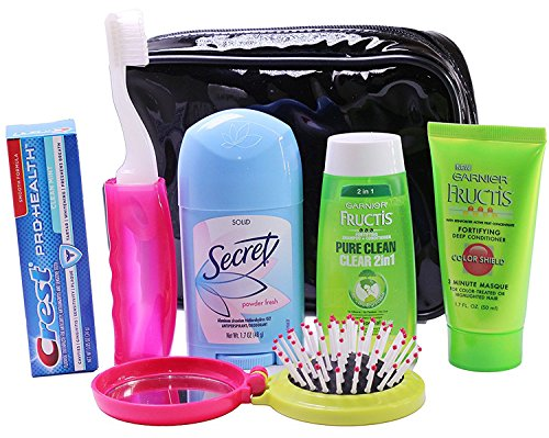 Women's Travel Toiletry 7 Piece Set, With Cosmetic Bag, Great Holiday Gift Idea