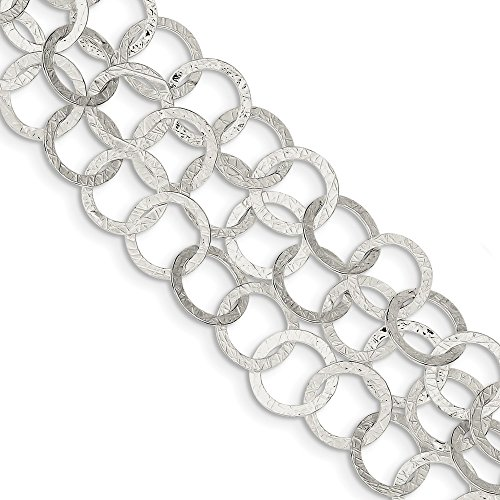 925 Sterling Silver Textured Multi Strand Toggle Bracelet 7 Inch Fancy Fine Jewelry Gifts For Women For Her