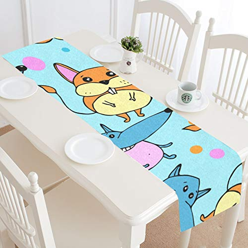 Jnseff Cute Warm Heart Animal Pet Dog Table Runner Kitchen Dining Table Runner 16x72 Inch for Dinner Parties Events Decor
