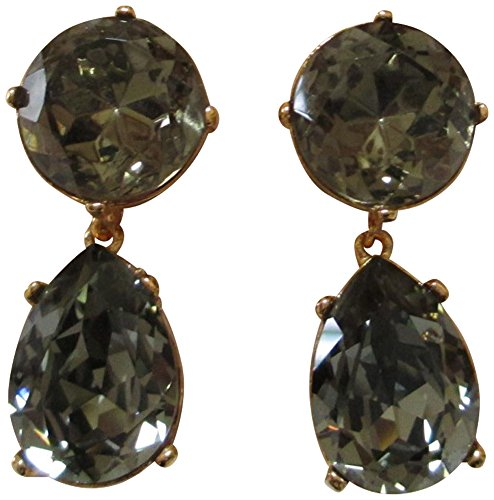 Kenneth Jay Lane Round Top Crystal Tear Drop Clip Earrings
