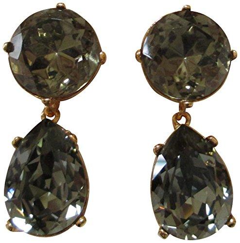 Kenneth Jay Lane Round Top Crystal Tear Drop Clip Earrings