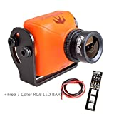 #6: Weyland RunCam Swift 2 600TVL FPV Camera Mini 2.3mm for Quad Flying Drones150 Degree OSD WDR DC 5-36V NTSC Integrated MIC for Multicopter Orange With 1 PCS RGB LED BAR