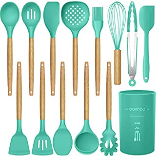 14 Pcs Silicone Cooking Utensils Kitchen Utensil Set,446°F Heat Resistant,Turner Tongs,Spatula,Spoon,Brush,Whisk. Wooden Handles Teal Kitchen Gadgets Set for Non-Stick Cookware (BPA Free)