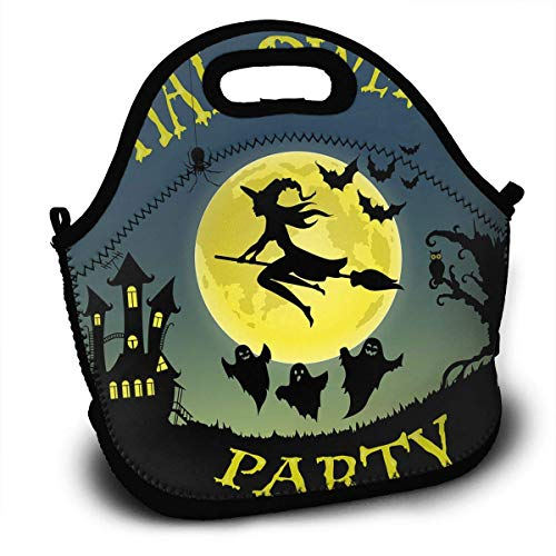 Personalized Insulated Neoprene Lunch Bag Thermal Carrying Gourmet Lunch Box Containers for Women Men Teen Girls Boys Kids - Halloween Party Flying Witch
