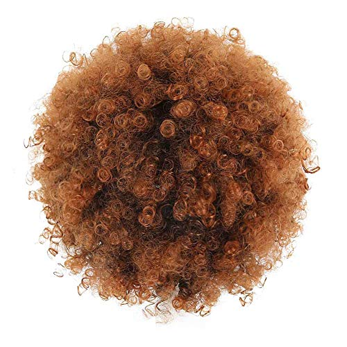 Deyngs Ponytail African American Short Afro Kinky Curly Wrap Synthetic Drawstring Puff Ponytail (1B/30)