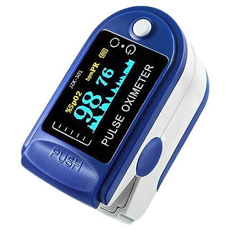 niceEshop (TM) Oxímetro de pulso de dedo Medidor de oxígeno de dedo con monitor de frecuencia de pulso, color azul: Amazon.es: Electrónica