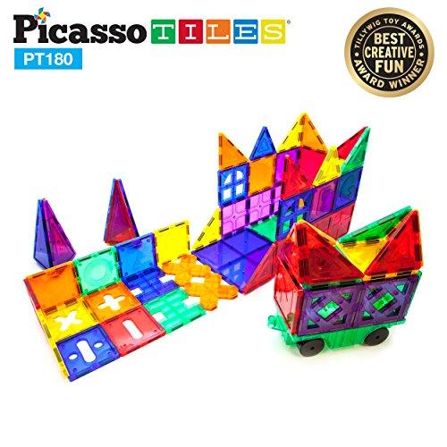 PicassoTiles PT180 Piece Set 180pc Building Block Toy Deluxe Construction Kit Magnet Building Tiles Clear Color Magnetic 3D Construction Playboards Educational Blocks Creativity Beyond Imagination by PicassoTiles (Image #2)