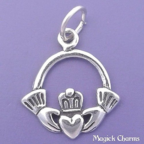 925 Sterling Silver Irish Claddagh Charm Heart in Hands Celtic Pendant Jewelry Making Supply, Pendant, Charms, Bracelet, DIY Crafting by Wholesale Charms